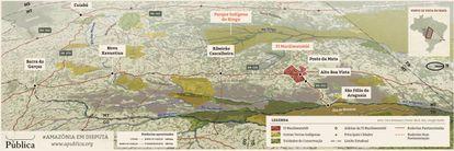 A região percorrida pela reportagem da Pública. Clique para ampliar o mapa ilustrado.
