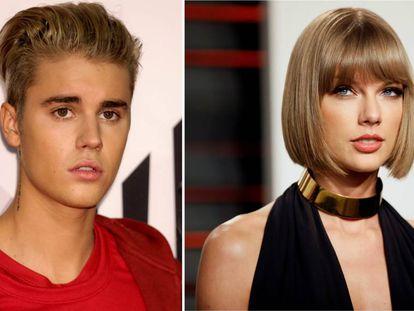 Os cantores Justin Bieber e Taylor Swift.