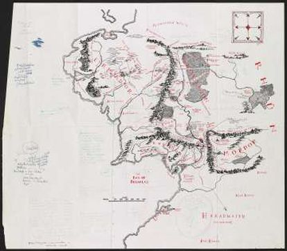 Mapa da Terra Média, anotado por Tolkien e reproduzido em 'O Senhor dos Anéis'.