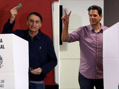 Bolsonaro e Haddad no domingo da votação.