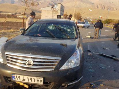 Imagem do local onde ocorreu o ataque ao cientista Mohsen Fakhrizadeh, na cidade de Absard, a nordeste de Teerã, nesta sexta-feira.