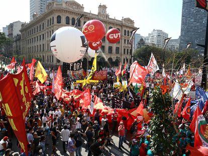 Protesto contra o Governo Bolsonaro realizado no Vale do Anhangabaú, neste 7 de Setembro.