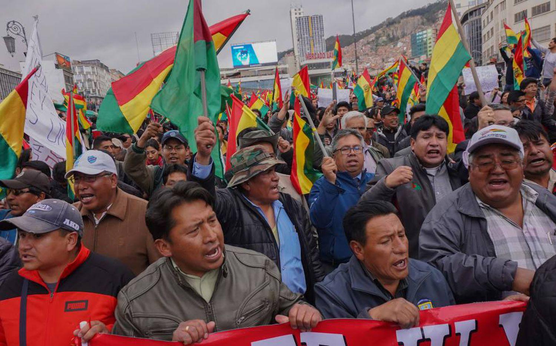 Um dos protestos na Bolívia depois das eleições presidenciais.