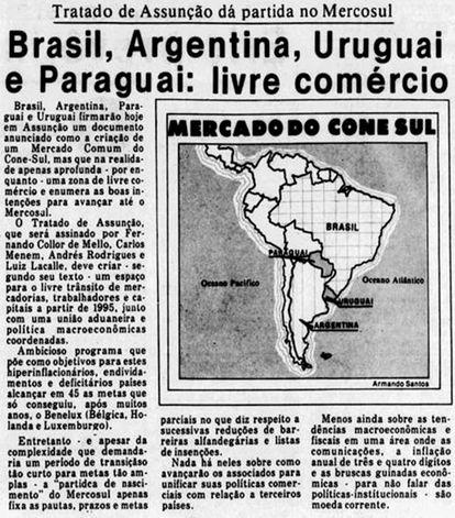 Tribuna da Imprensa noticia em 1991 a criação do Mercosul.