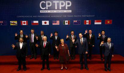 Os representantes dos países assinantes do TPP, nesta quinta-feira em Santiago de Chile.