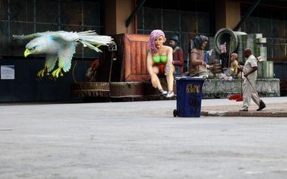 A Cidade do Samba, no Rio de Janeiro, vazia devido à pandemia de covid-19.