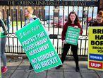 Protesta contra el Brexit en la Queen's University de Belfast, en Irlanda del Norte.
