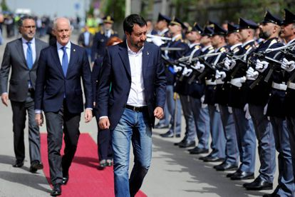 O líder da Liga e ministro do Interior da Itália, Matteo Salvini, em Corleone.