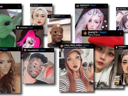 Captura de várias imagens colocadas no Instagram com filtros.