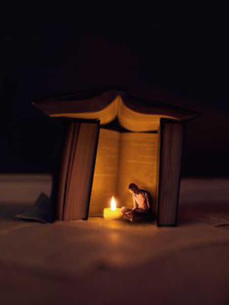 Uma imagem composta para representar a leitura e a cultura em geral como um refúgio.