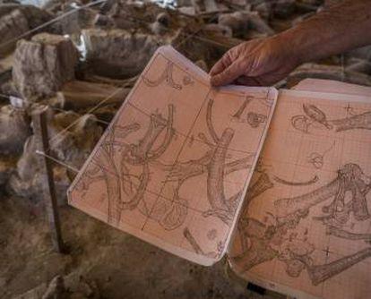 El arqueólogo Luis Córdoba muestra sus dibujos de la excavación.