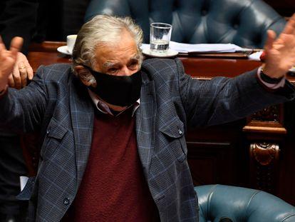 Mujica em seu discurso de despedida no Congresso de Montevidéo.