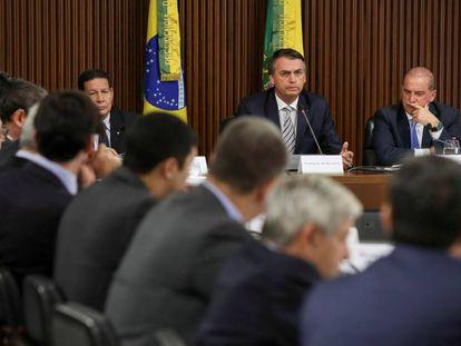 O presidente Jair Bolsonaro em sua primeira reunião ministerial, nesta quinta-feira, no Palácio do Planalto.