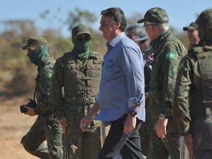 O presidente Jair Bolsonaro, participa da terceira fase da Operação Formosa 2021, no Campo de Instrução de Formosa, na última segunda-feira.
