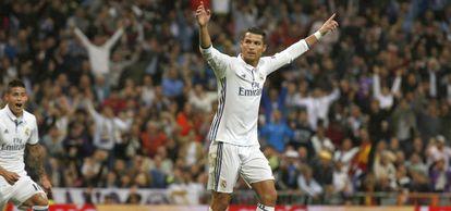 Cristiano comemora o gol de empate.