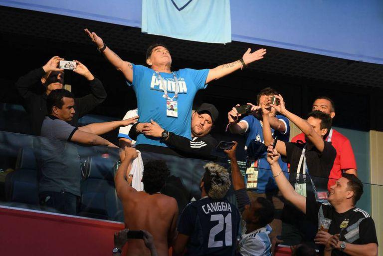 Maradona, durante o jogo entre Argentina e Nigéria.