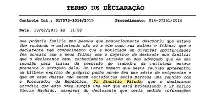 Em depoimento à Polícia Civil em 2015, o doleiro Dario Messer reclamou que uma secretária ameaçava lhe denunciar ao procurador Januário Paludo, da Lava Jato