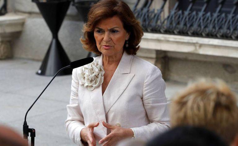 A vice-presidenta do Governo em funções, Carmen Calvo, nesta terça-feira, no Congresso.