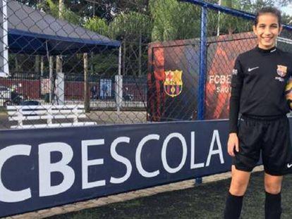 Ana Julia, na escola do FC Barcelona em São Paulo.