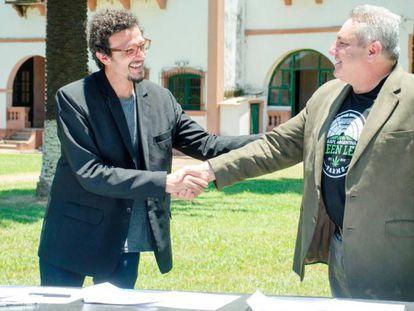 O presidente da Cannabis Avatãra, Gastón Morales, e Mark Bradley, da Green Leaf Farms International.