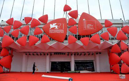 Preparação da inauguração do festival de cinema de Veneza 2014.