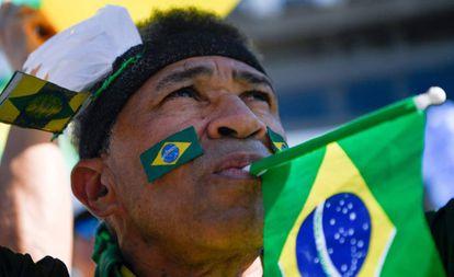 Um manifestante a favor de Moro no último domingo, no Rio de Janeiro.