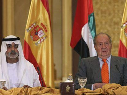 O Rei junto ao príncipe herdeiro emiradense, nesta segunda-feira durante o início do fórum empresarial hispano-emiradense.