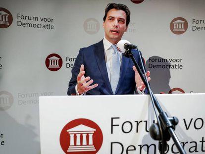 Thierry Baudet, líder do Fórum pela Democracia, durante um discurso nesta quarta-feira.