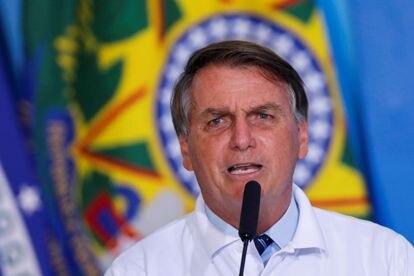 O presidente Jair Bolsonaro em pronunciamento no Palácio do Planalto, no dia 12 de janeiro.