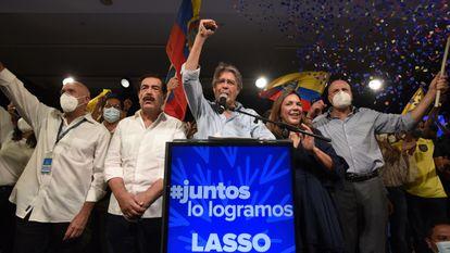 O presidente eleito do Equador, Guillermo Lasso, na noite de domingo após a divulgação dos resultados.
