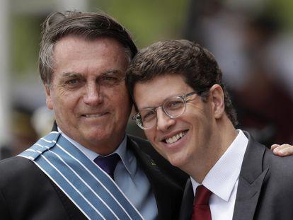 Jair Bolsonaro e Ricardo Salles em evento no dia do aviador, nesta sexta-feira.