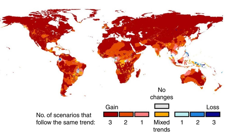 Expansão da área de patógenos em decorrência do aquecimento global. Em cores avermelhadas, as áreas que registrarão o maior incremento.