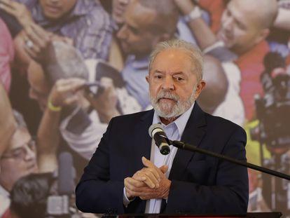Presidente Luiz Inácio Lula da Silva, em pronunciamento no Sindicado dos Metalúrgicos em São Bernardo, em março.