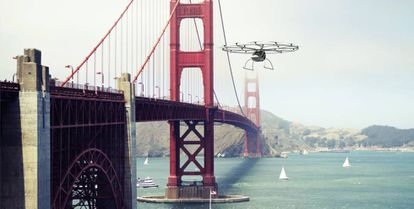 Simulação de voo de um Volocopter sobre San Francisco. Esses carros voadores já fizeram o seu primeiro voo.