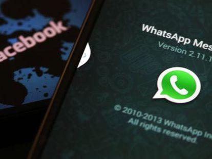 Logotipos do WhatsApp e Facebook.