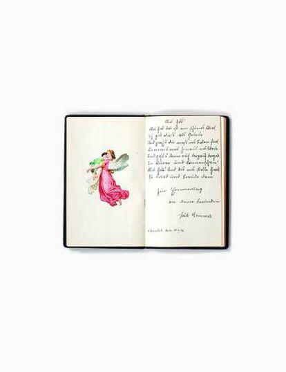 'Poesiablum', desenho do caderno de poemas de uma menina dos anos vinte.