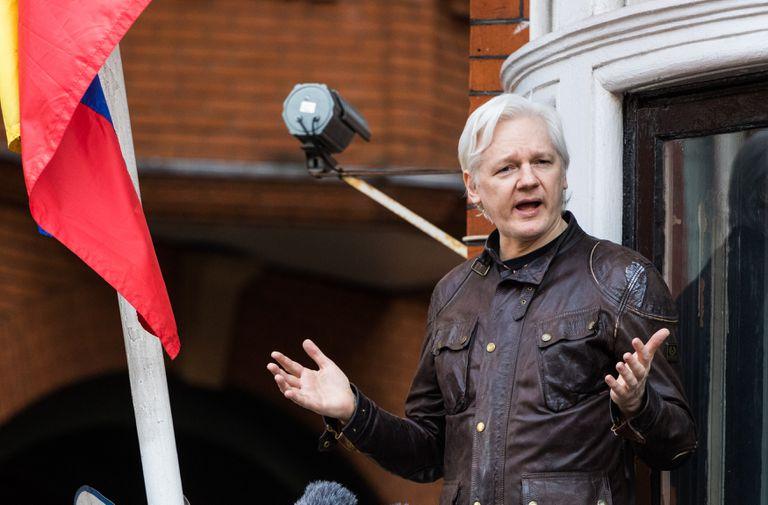 Julian Assange, na Embaixada do Equador em Londres, em maio de 2017.