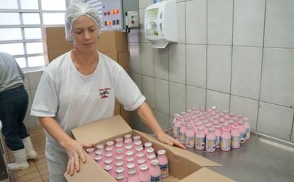 Caixas de iogurtes de morango da cooperativa Leite do Campo.