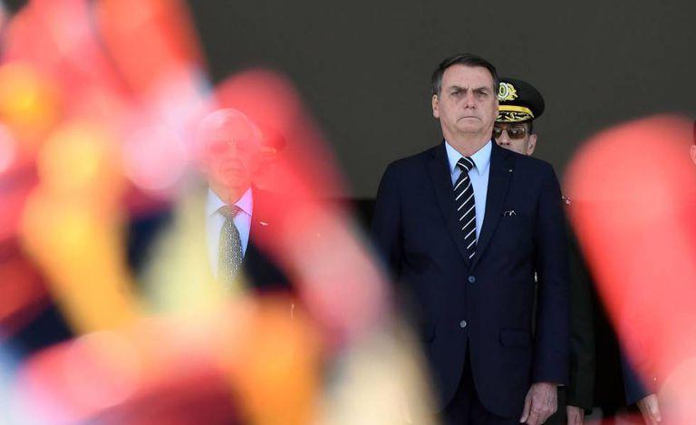 O presidente Jair Bolsonaro durante cerimônia de troca da guarda.