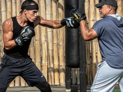 O boxeador venezuelano Eldric Sella durante um treinamento.