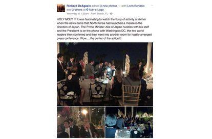 Imagens publicadas por um dos participantes do jantar no jardim de Mar-a-Lago.