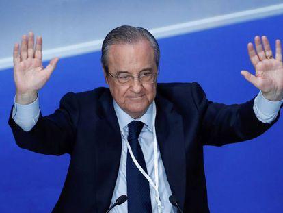 O presidente do Real Madrid, Florentino Pérez, na assembleia de sócios do clube.