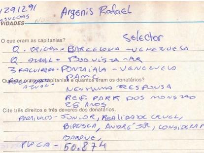 A ficha cadastral de Argenis Rafael Barrios Lopez no PCC.