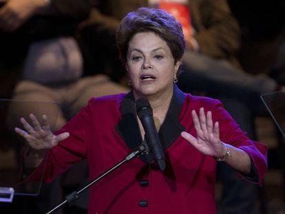 Rousseff no encontro do PT, nesta sexta, em São Paulo.