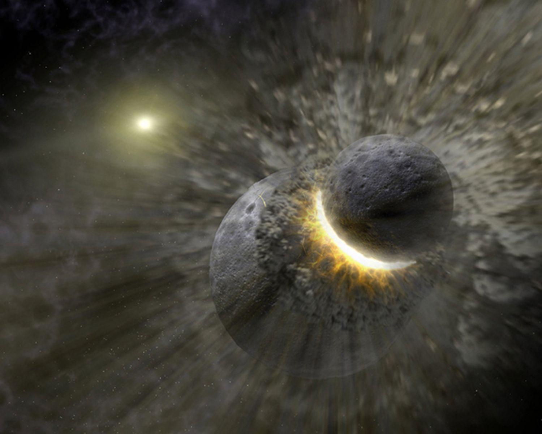 Ilustração artística mostrando uma colisão planetária perto da estrela Vega, semelhante à que poderia ter criado a Lua.
