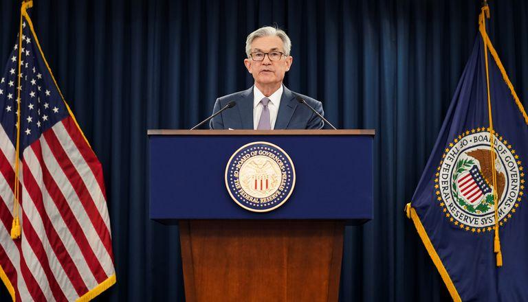 O presidente do Federal Reserve (banco central dos EUA), Jerome Powell, durante sua entrevista coletiva sobre o impacto do coronavírus na economia, nesta quarta-feira em Washington.