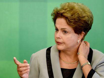 Dilma Rousseff durante evento no Palácio do Planalto.