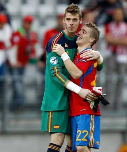 De Gea e Muniain, em uma partida pela seleção espanhola sub-21.