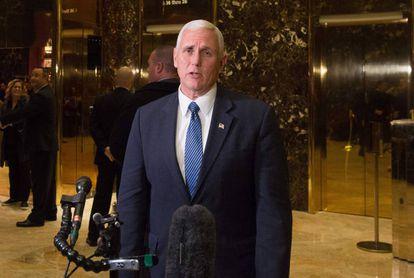 O vice-presidente eleito, Mike Pence, na terça-feira em Nova York.