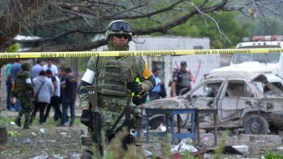 Local da explosão em Tultepec, Estado do México.